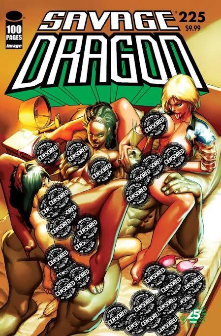 Savage Dragon #225 (2017)Portada Censurada de Rafael Krás