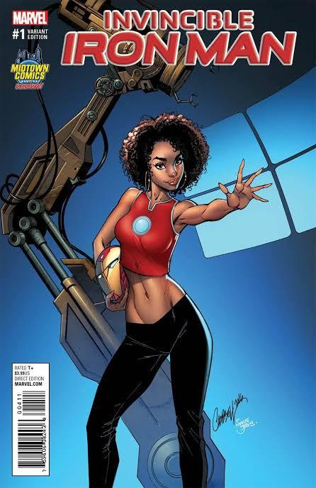 Invencible Iron Man #1 (2016) Portada exclusiva de J. Scott Campbell