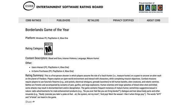 "ESRB filtra ""Borderlands: Game of the Year"" 2"
