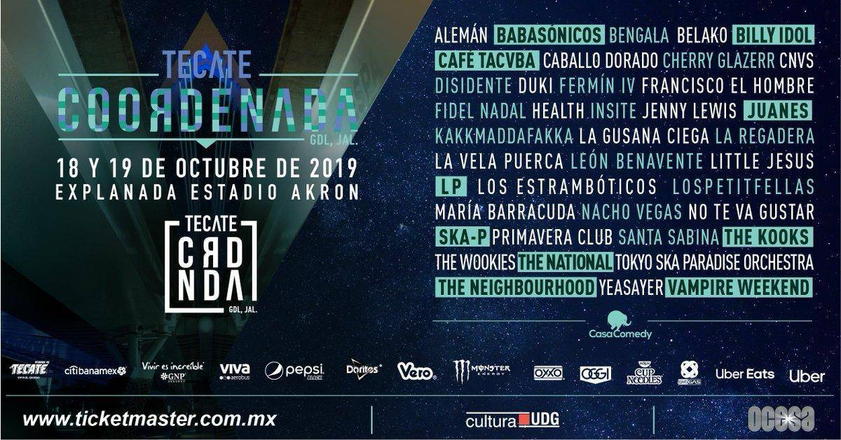 Line-up Tecate Coordenada 2019