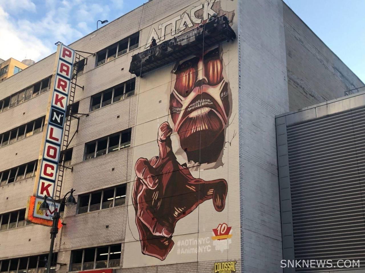 Attack on Titan celebra 100 millones de copias con mural en NY