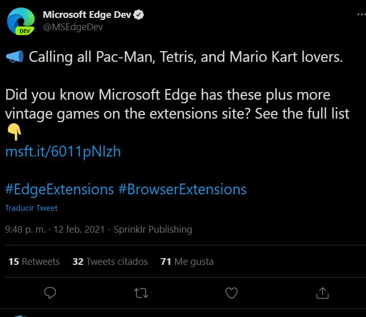 """Microsoft Edge aloja juegos no autorizados como """"Extensiones"""" del navegador 1"""