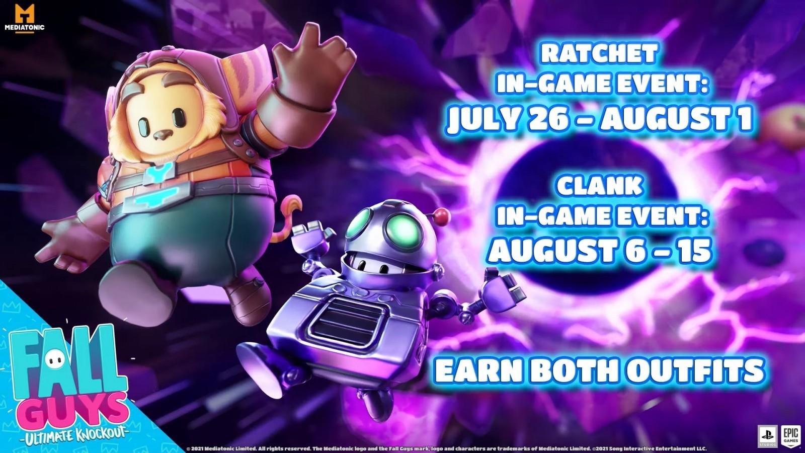 Fall Guys tendrá colaboración con Ratchet and Clank en un evento en donde podrás ganar estas skins.